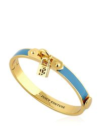 Juicy Couture - Blue Padlock Charm Enameled Bangle Bracelet - Lyst