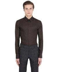 Trussardi - Brown Printed Silk Shirt for Men - Lyst