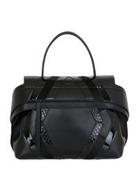 Tod's Black Wave Leather & Python Bag For Lvr