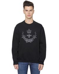 Dolce & Gabbana | Black Crown Bee Embroidered Cotton Sweatshirt for Men | Lyst