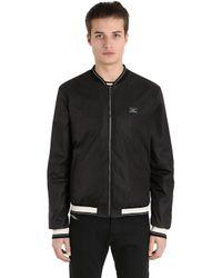 Dolce & Gabbana | Black Logo Plaque Nylon Bomber Jacket for Men | Lyst