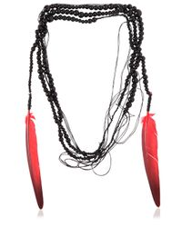 Ann Demeulemeester | Multicolor Wrap Around Necklace With Feathers | Lyst