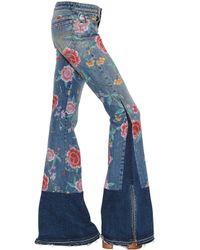 Roberto Cavalli | Blue Floral Printed Flared Denim Jeans | Lyst