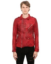 Giorgio Brato | Red Washed Smooth Nappa Biker Jacket for Men | Lyst