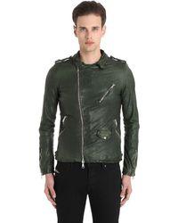 Giorgio Brato | Green Washed Smooth Nappa Biker Jacket for Men | Lyst