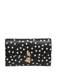 Dolce & Gabbana - Black Dolce Polka Dot Dauphine Leather Clutch - Lyst