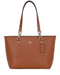 COACH | Brown Small Sophia Pebbled Leather Tote Bag | Lyst