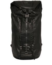 DIESEL | Black Coated Denim & Rubberized Print Backpack for Men | Lyst