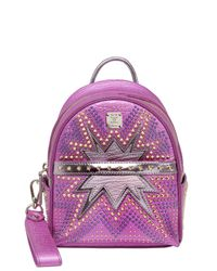 MCM | Purple Extra-mini Stark Cyber Leather Backpack | Lyst