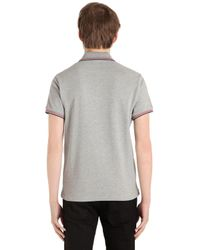 Moncler - Gray Logo Stripes Cotton Piqué Polo Shirt for Men - Lyst