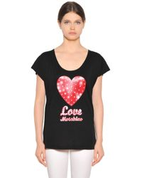 Love Moschino | Black Cotton Modal T-shirt | Lyst