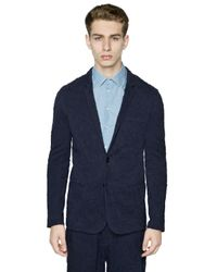 Emporio Armani   Blue Wrinkled Effect Cotton Jersey Jacket for Men   Lyst