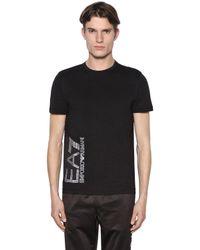 EA7 | Black Logo Cotton T-shirt for Men | Lyst