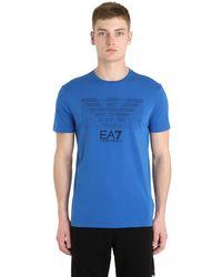 EA7 | Blue Logo Cotton T-shirt for Men | Lyst