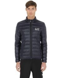 EA7 | Blue Nylon Packable Quilted Down Jacket for Men | Lyst
