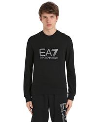 EA7 | Black Logo Cotton Sweatshirt for Men | Lyst