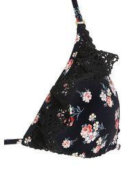 Stella McCartney - Black Vintage Floral Triangle Bikini Top - Lyst