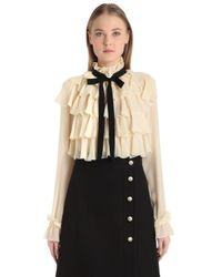 Gucci   White Ruffled Silk Georgette Shirt With Bow   Lyst