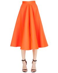 Maison Rabih Kayrouz   Orange Flared Techno & Silk Satin Midi Skirt   Lyst