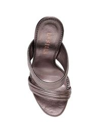 Le Silla - Brown 110mm Quilted Leather Sandals W/crystals - Lyst