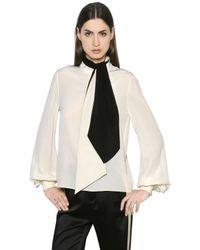 Lanvin | White Bow Tie Silk Crepe De Chine Blouse | Lyst