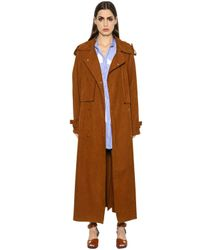 Stella McCartney | Brown Oversized Faux Suede Long Trench Coat | Lyst