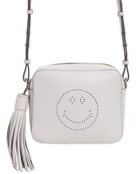 Anya Hindmarch | Gray Smiley Perforated Leather Crossbody Bag | Lyst