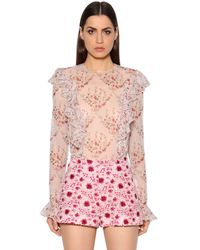 Giambattista Valli   Pink Ruffled Printed Silk Georgette Blouse   Lyst