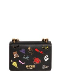 Moschino | Black Iconic Pins Leather Shoulder Bag | Lyst