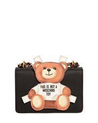 Moschino | Black Teddy Bear Tab Leather Shoulder Bag | Lyst