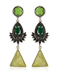 Iosselliani | Green Anubian Brass, Agate & Crystal Earrings | Lyst
