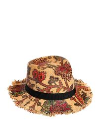 Etro | Natural Flower Printed Woven Straw Hat | Lyst