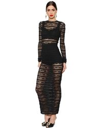 Dolce & Gabbana | Black See-through Stripes Lace Stretch Dress | Lyst