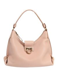 Ferragamo | Pink Small Fanisa Grained Leather Bag | Lyst