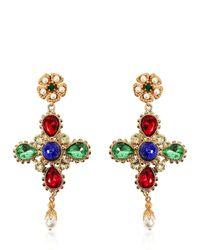 Dolce & Gabbana | Multicolor Cross Swarovski Clip-on Earrings | Lyst