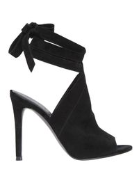 Kendall + Kylie | Black 105mm Evelyn Suede Wrap Around Sandals | Lyst