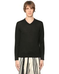 The Kooples | Black Leather Trimmed Wool Knit Sweater for Men | Lyst