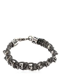 Emanuele Bicocchi - Metallic Skull & Chain Sterling Silver Bracelet for Men - Lyst