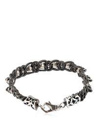 Emanuele Bicocchi - Metallic Skull & Chain Sterling Silver Bracelet for Men - Lyst