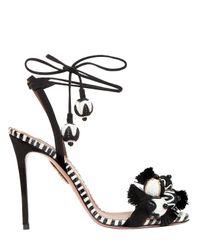 Aquazzura | Black 105mm Tropicana Suede & Snake Sandals | Lyst