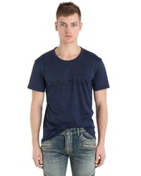 Balmain | Blue Logo Printed Cotton Jersey T-shirt for Men | Lyst