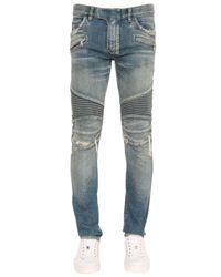 Balmain | Blue 17.5cm Biker Destroyed Denim Jeans for Men | Lyst