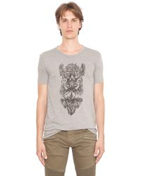 Balmain | Gray Totem Printed Jersey Cotton T-shirt for Men | Lyst