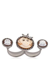 Amedeo - Black Monkeydeo Double Finger Ring - Lyst