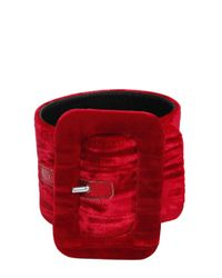 Attico - Red 2 Crushed Velvet Buckled Ankle Cuffs - Lyst