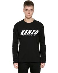 Kenzo logo cotton sweatshirt w snap buttons in black for for Mens shirts with snaps instead of buttons
