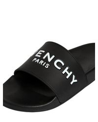 Givenchy - Black Rubber Logo Embossed Pool Slides - Lyst