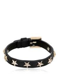 RED Valentino - Black Leather Bracelet W/ Star Studs - Lyst