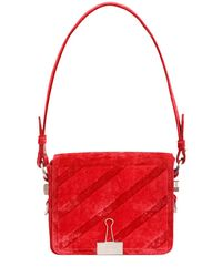 Off-White c/o Virgil Abloh - Red Binder Clip Velvet Shoulder Bag - Lyst