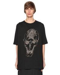 Yohji Yamamoto | Black Printed Skull Cotton Jersey T-shirt for Men | Lyst